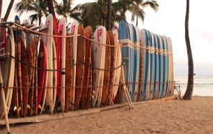 sur la plage de Waikiki
